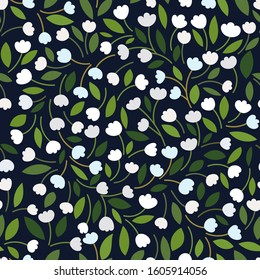 Beautiful Floral pattern with white tulips / lilies of the valley, leaves on a dark background. Forest botanical motifs scattered random. Seamless vector texture. Wild flowers print, elegant template.