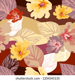 Beautiful floral print with Japanese art motifs. Large flowers and leaves on abstract wavy background. Oriental textile collection. Red, brown, yellow.