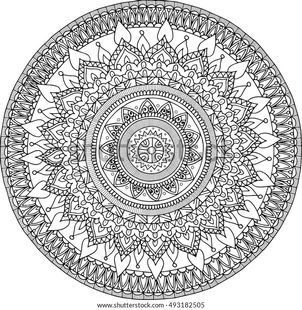 Beautiful floral round zentangle mandala. Vector image. Handdrawn picture for adult colouring book