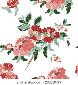 Beautiful  floral seamless pattern . Light composition on white. Vector background.