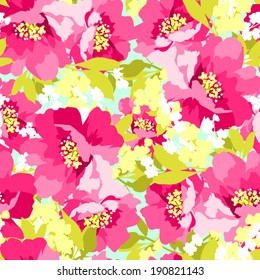 Beautiful floral seamless pattern with Beautiful Pink Flowers wild rose