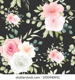 Beautiful floral seamless pattern with romantic flowers