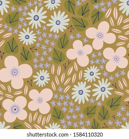 Beautiful floral texture with different hand drawn Flowers and Leaves. Summer Floral field - vector seamless pattern in Ditsy style.