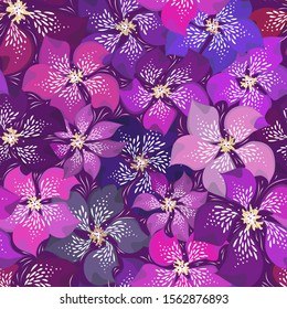 Beautiful floral vector seamless pattern. Different brightness purple abstract motley violet flowers. Festive spring or summer background