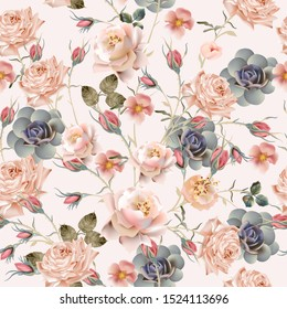 Beautiful floral vintage pattern with pastel pink and beige rose flowers