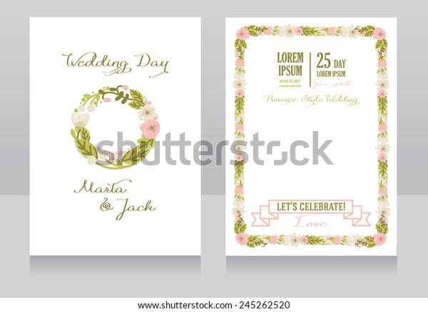 Beautiful Floral Wedding Invitation Provence Design Stock