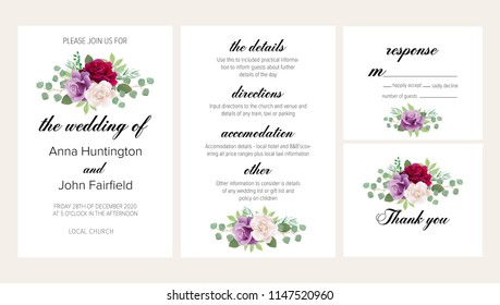 Beautiful floral wedding invitation set with dark red, purple and white roses. This wedding invitation template set includes four templates: invitation card, rsvp card, details and thank you card.
