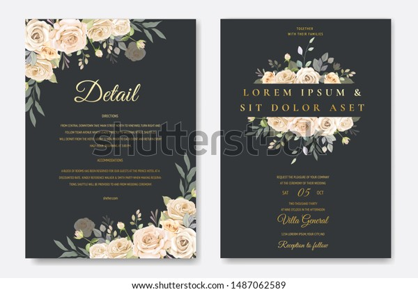 Beautiful Floral Wedding Invitation Template Stock Vector (Royalty ...