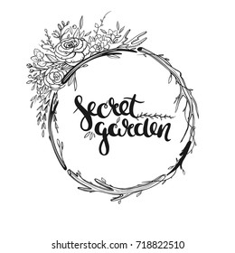 Beautiful floral wreath isolated on white. Bohemian wreath with flowers, leaves and herbs. Hand drawn vector illustration.