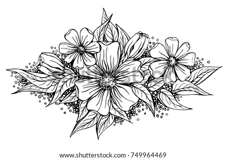 Beautiful Flower Arrangement Black Outline On Stock Vektorgrafik
