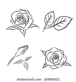 78dad4d401ae6 Beautiful flower contour rose set with leaf, Vector monochrome roses  illustration, isolated on white
