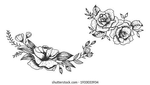 Beautiful flower hand drawn. Monochrome vector floral illustration art.