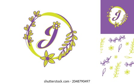 Beautiful Flower Logo using letter J with leafs, flowers and stem for Boutique, women, girl, lady, makeup, beauty brands with a pattern for branding designs