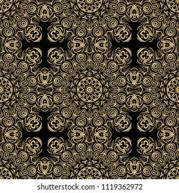 beautiful flower mandala. decorative vector. gold, black color symbol. vector illustration