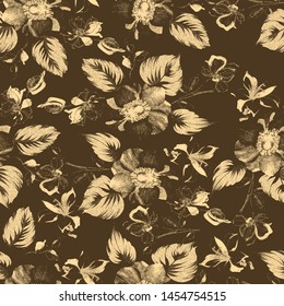 beautiful flower seamless pattern with branches and leaves