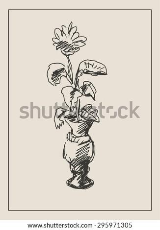 Beautiful Flower Vase Engraving Etching Sketch Stock Vector Royalty