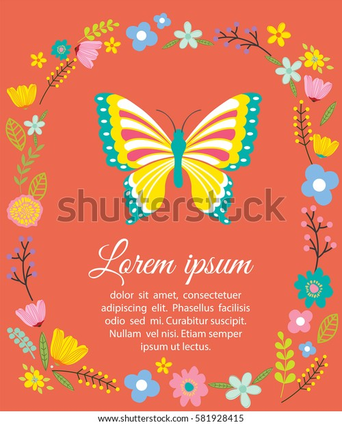 Beautiful flowers and butterfly with colorful