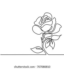 Beautiful flowers. Continuous line drawing. Vector illustration