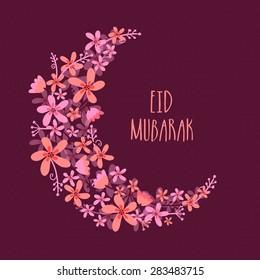Beautiful flowers decorated crescent moon for Muslim community festival, Eid Mubarak celebration.
