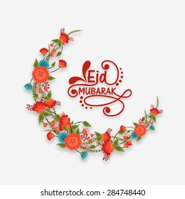 Beautiful flowers decorated crescent moon on grey background for Muslim community festival, Eid Mubarak celebration.