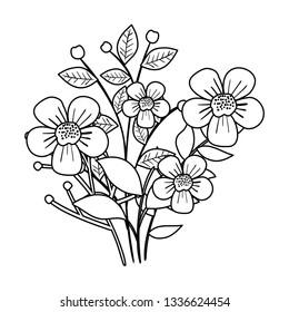 beautiful flowers decorative icon