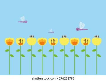 Beautiful flowers garden with dragonflies vector