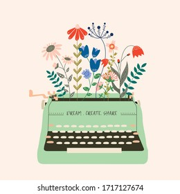 Beautiful flowers growing out from a vintage typewriter illustration. A concept of motivation and personal development to  create with a slogan of