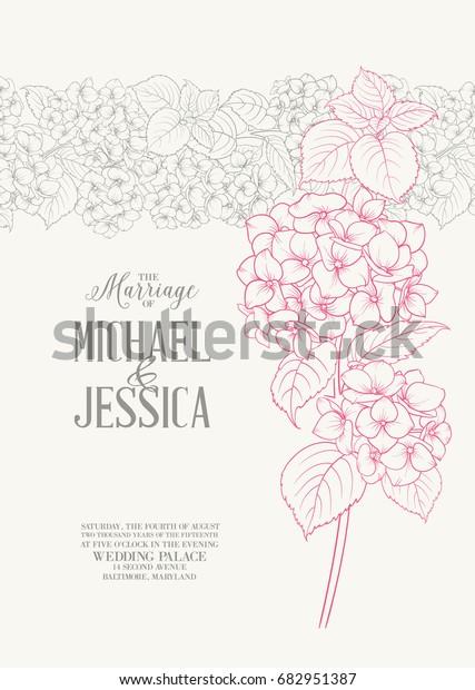 Beautiful Flowers Hydrangea Wedding Card Engagement Stock