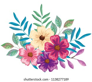 beautiful flowers and leafs decoration
