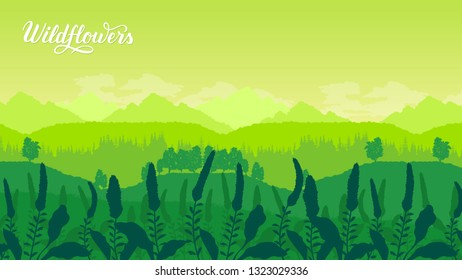 Beautiful flowers on the mountainside vector. Summer nature Template land page wallapapers design concept. Flora on hill invitation concept. Layout modern design