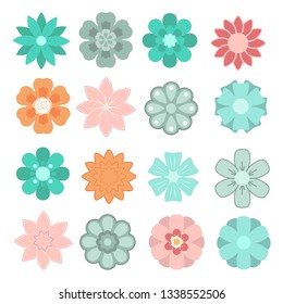 Beautiful flowers pack vector design illustration isolated on white background