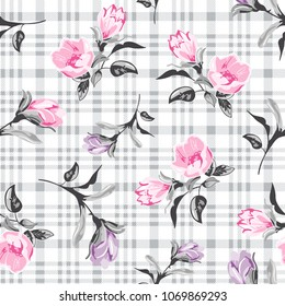 Beautiful Flowers Pattern on checkered background for textile pattern