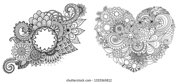 Beautiful flowers set for cards,adult coloring book,coloring page,engraving and other design element. Vector illustration