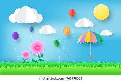 beautiful flowers , umbrella , paper art style , colorful air balloon