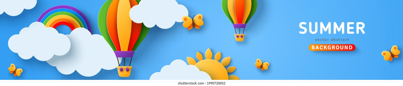 Beautiful fluffy clouds on blue sky background with summer sun, butterfly, hot air balloons and rainbow. Vector illustration. Paper cut style web header. Place for text