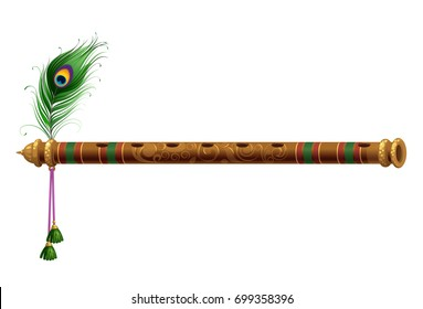Beautiful flute with peacock feather