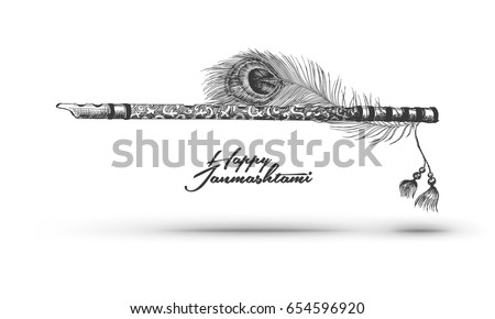 Beautiful Flute Peacock Feather On White Stock Vector ...
