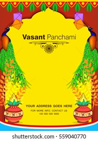 Beautiful Flyer design for Vasant Panchami on decorative colorful background.