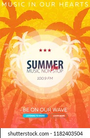 Beautiful flyer for summer party. Radio Music. Vector illustration. Invitation to nightclub