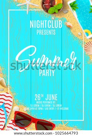 4061470d1975 Beautiful Flyer Summer Party Top View Stock Vector (Royalty Free ...