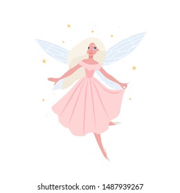 Beautiful flying fairy owith blonde hair in elegant ball gown isolated on white background. Fairytale creature with butterfly wings, magical character from folklore. Flat cartoon vector illustration.