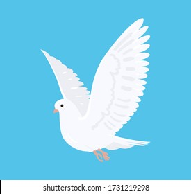 Beautiful flying white dove. Pigeon, vector illustration in cartoon style.