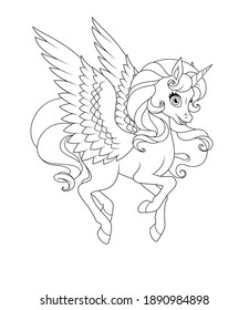 Beautiful flying winged unicorn. Vector black and white illustration for coloring page.