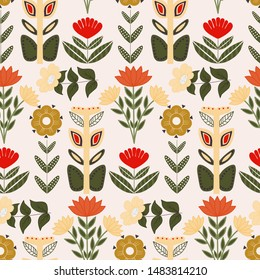 Beautiful folk art flowers in an elegant scandinavian seamless pattern, perfect to use on the web, or in print, for surface design
