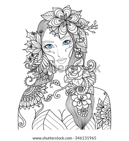 Beautiful Forest Fairy Coloring Book Adult Stock Vector Royalty
