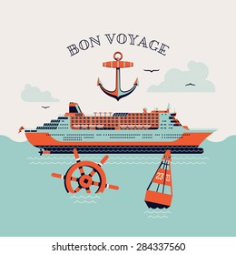 Beautiful four colored 'Bon voyage' printable poster or web banner template with cruise transatlantic liner ship, anchor, steering wheel and navigation buoy