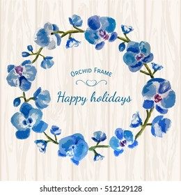 Beautiful frame with blue orchids and leaves