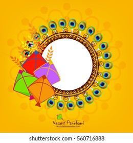 Beautiful frame decorated with peacock feather and kites for Vasant Panchami, Vector Illustration.