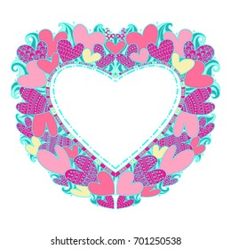 Beautiful frame in the form of a heart of hearts in a doodle style. Hearts in delicate colors. Frame for Valentine's Day, wedding, favorite people, for photos.
