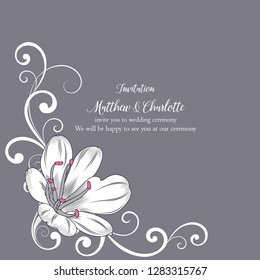 Beautiful frame invitation to a celebration, wedding ceremony, card, flyer. Abstract background with hand-drawn flowers of clivia.